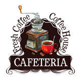 Cafeteria logo design template. fresh coffee or Royalty Free Stock Images