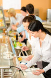 Cafeteria lunch two office woman choose food stock image