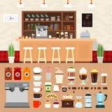 Cafeteria med drycker på tabellen Arkivfoton