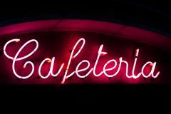 Cafeteria neon sign Royalty Free Stock Photos