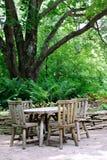 Cafeteria-Tabellen unter großem Baum Lizenzfreies Stockfoto