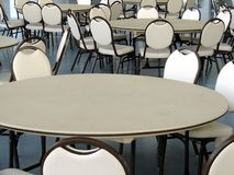 Cafeteria Tables and Chairs. Tables and chairs in an otherwise empty cafeteria Stock Image