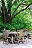 Cafeteria Tables under Big Tree Royalty Free Stock Photo