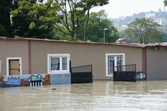 Cafeteria under water - extraordinary flood, on Danube in Bratislava Stock Photo