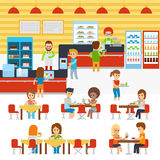 Cafeteria vector, people in canteen, people eating in the cafeteria. Catering restaurant and canteen freshly cooked warm. Meals service. Restaurant canteen stock illustration