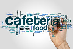 Cafeteria word cloud concept on grey background Stock Photos
