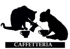 Cafeterian shoppar med katten och hunden stock illustrationer