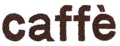 Caffè sign from coffee beans Royalty Free Stock Images