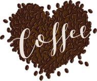 Caffè Bean Heart con il testo dello scritto Fotografie Stock
