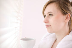 Caffè bevente della donna Fotografie Stock