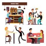 Caffè, caffetteria, ristorante con il vettore bevente della gente del caffè illustrazione di stock