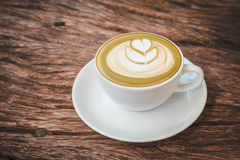 Caffè caldo di arte del Latte Fotografia Stock Libera da Diritti