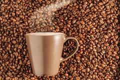 Caffè caldo di cottura a vapore delizioso sui fagioli 1 Immagini Stock Libere da Diritti