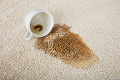 Caffè che straripa tazza su tappeto fotografie stock