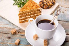 Caffè con il dolce Fotografia Stock Libera da Diritti
