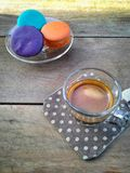 Caffè con macaron Fotografie Stock