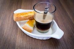 Caffè con pane tostato Fotografia Stock Libera da Diritti