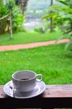 Caffè contro la vista della natura Fotografia Stock
