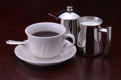 Caffè, crema e zucchero Immagini Stock Libere da Diritti