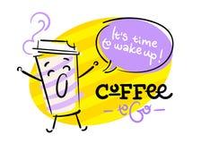 Caffè da andare È tempo di svegliare Divertente e variopinto Illustrazione Vettoriale