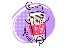 Caffè da andare Illustrazione disegnata a mano divertente e variopinta Illustrazione Vettoriale