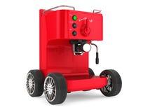 Caffè del caffè espresso che rende a macchina sull'le ruote rappresentazione 3d Immagine Stock Libera da Diritti