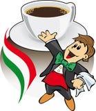 Caffè del caffè espresso con il cameriere italiano illustrazione di stock