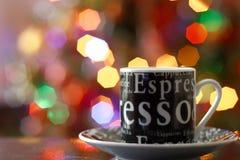 Caffè del caffè espresso su fondo vago colourful Fotografia Stock