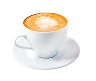 Caffè del Cappuccino time.late isolato Fotografia Stock