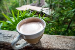 Caffè del cappuccino in una tazza con la schiuma di arte della foglia sulla cima con la vista del paesaggio della montagna dietro immagini stock