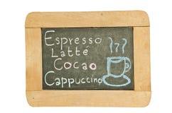 Caffè del disegno della mano e disegno del menu della bevanda Fotografie Stock