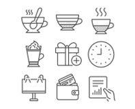 Caffè del Latte, di Doppio ed icone della carta di debito L'insegna della strada, orologio ed aggiunge i segni del regalo Immagine Stock