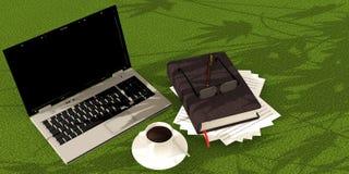 Caffè del libro del computer portatile Fotografie Stock