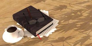 caffè del libro sul pavimento di legno Fotografia Stock Libera da Diritti