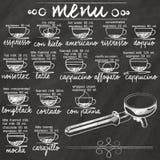 Caffè del menu sulla lavagna
