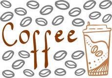 Caffè del testo con la tazza disegnata a mano e molti fagioli Illustrazione di vettore dell'elemento di progettazione royalty illustrazione gratis