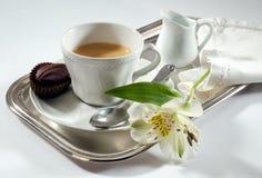 Caffè del vassoio della prima colazione Fotografie Stock