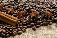 Caffè dell'intero fagiolo con i aniseas della stella ed i bastoni di cannella su tela da imballaggio leggera con spazio per test immagine stock