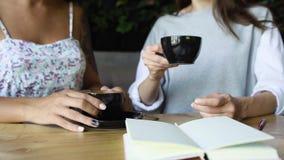 Caffè della bevanda di due amici delle donne in caffè Femmine che parlano e che bevono latte Fotografie Stock Libere da Diritti
