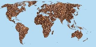 Caffè della mappa di mondo Immagine Stock