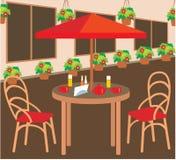 Caffè della via di estate illustrazione di stock