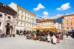 Caffè della via a Innsbruck Fotografia Stock Libera da Diritti