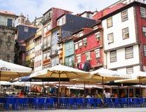 Caffè della via a Ribeira, Oporto Fotografie Stock