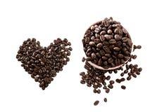 Caffè di amore fatto dai chicchi di caffè Immagine Stock