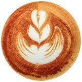 Caffè di arte del Latte isolato nel fondo bianco Immagine Stock