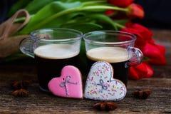 Caffè di giorno di biglietti di S. Valentino immagine stock