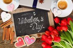 Caffè di giorno di biglietti di S. Valentino immagini stock libere da diritti
