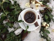 Caffè di inverno: tazza bianca con caffè nero Fotografie Stock