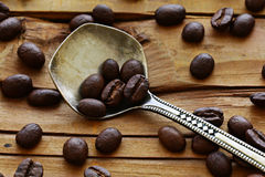 Caffè di legno del fondo Immagini Stock Libere da Diritti