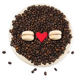 Caffè di Macarons Fotografia Stock Libera da Diritti